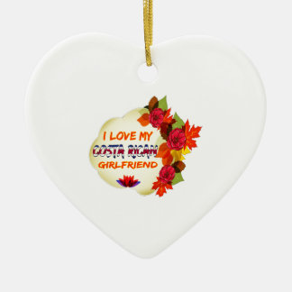Costa Rican Girlfriend designs Double-Sided Heart Ceramic Christmas Ornament