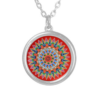 Costa Rican Oxcartwheel Art Silver Plated Necklace