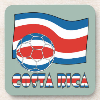 Costa Rican Soccer Ball and Civil Flag Beverage Coaster