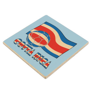 Costa Rican Soccer Ball and Civil Flag Wood Coaster