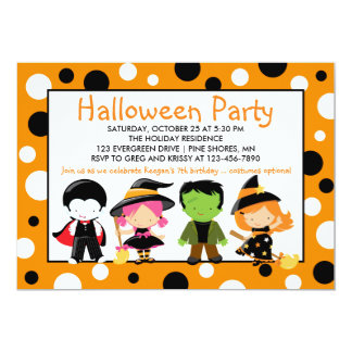 Costume Kids Halloween Party Invitations
