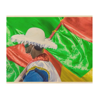 Costume Man with Flag Marching at Carnival Parade Wood Canvases