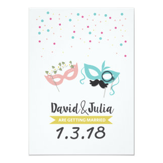 Costume party wedding invitation
