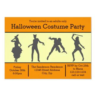 Costume Silhouette Orange - Halloween Party Invite