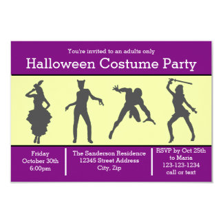 Costume Silhouette Purple - 3x5 Party Invite