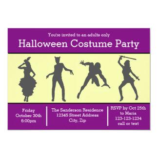 Costume Silhouette Purple - Halloween Party Invite