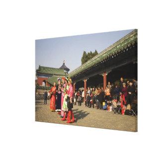 Costumed amateur folk dancers entertain stretched canvas prints