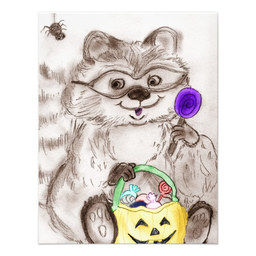Costumed Raccoon Halloween Custom Invites