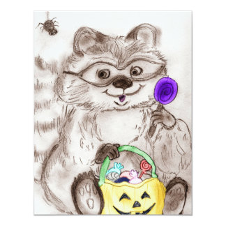 Costumed Raccoon Halloween 11 Cm X 14 Cm Invitation Card