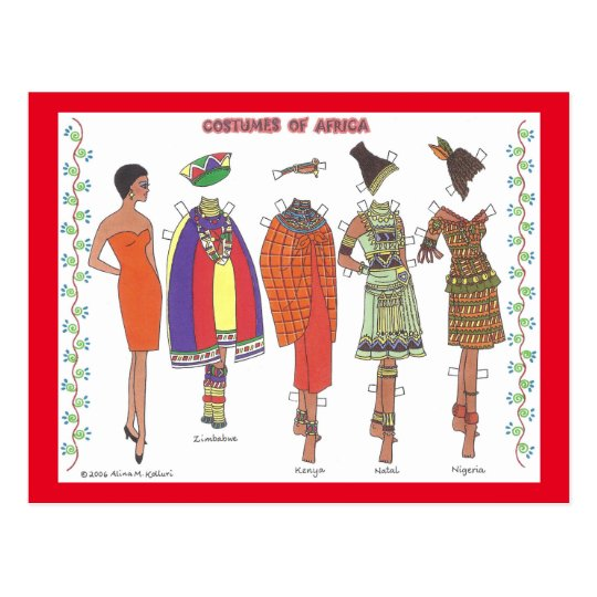 Costumes of Africa Paper Doll Post Card