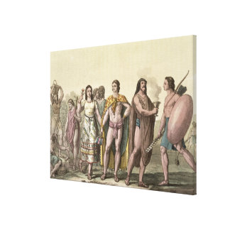 Costumes of the Mexicans (colour engraving) Canvas Prints