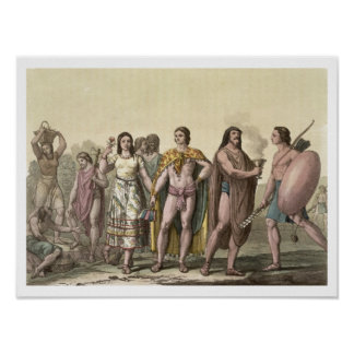 Costumes of the Mexicans (colour engraving) Poster