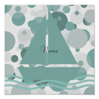 Cosy Add Name Cute Sailor Boat Mint White Poster