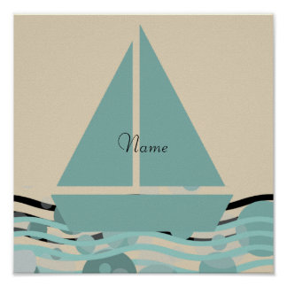 Cosy Add Name Cute Sailor Boat Poster