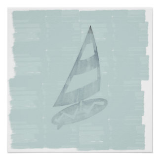 Cosy Cool Mint Wind Surfer Nautical Sea Poster