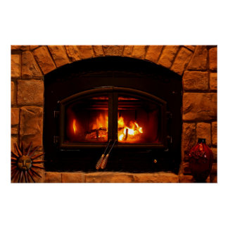 Cosy fireplace poster