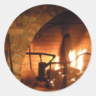 Cosy Fireplace Round Sticker