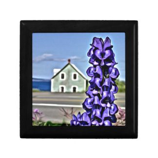 Cosy little house by the sea with a lupine flower gift box