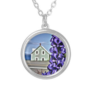 Cosy little house by the sea with a lupine flower silver plated necklace