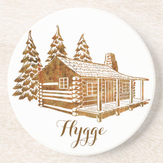 Cosy Log Cabin - Hygge or your own text Drink Coaster