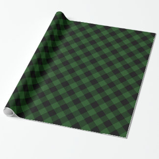 Cosy Plaid | Green and Black Buffalo Plaid Wrapping Paper