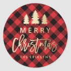 Cosy Plaid   Red and Black Buffalo Plaid Classic Round Sticker