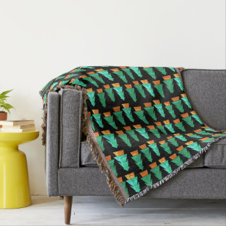 Cosy Rustic Woodland Trees Art Throw Blanket
