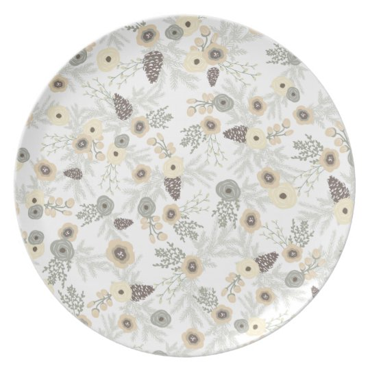 Cosy Winter Floral Pattern Plate