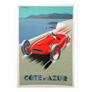 cote azur  red race car postcard