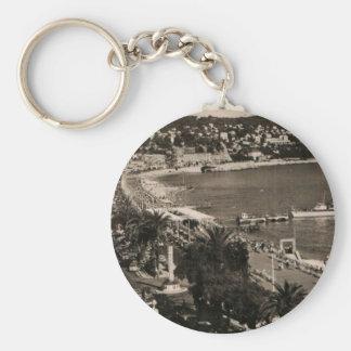 COTE D'AZUR - Nice 'Promenade des Anglais' 1950 Basic Round Button Key Ring