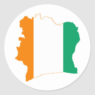 Cote d'Ivoire Flag map CI Classic Round Sticker