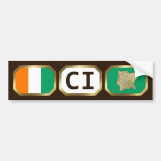 Cote d'Ivoire Flag Map Code Bumper Sticker