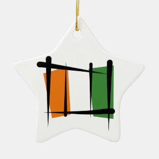 Cote d'Ivoire Ivory Coast Brush Flag Ceramic Star Decoration