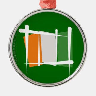 Côte d'Ivoire Ivory Coast Brush Flag Silver-Colored Round Decoration