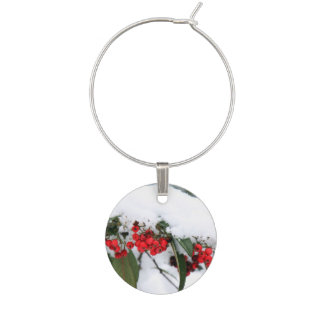 Cotoneaster Fruits with a Snow Hat Wine Glass Charms