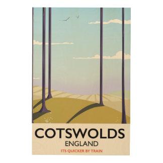 Cotswolds landscape railway travel poster