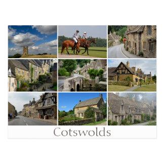 Cotswolds places collage text postcard