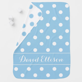 Cottage Blue and White Polka Dot Personalized Baby Blanket
