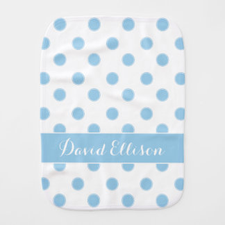 Cottage Blue Polka Dots on White Personalized Baby Burp Cloths