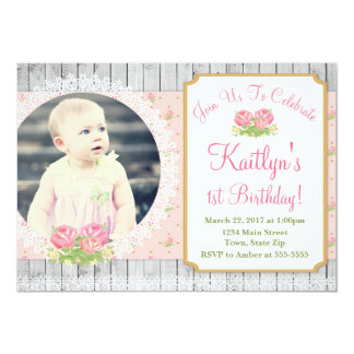 Cottage Chic Birthday Invitation Rustic Floral