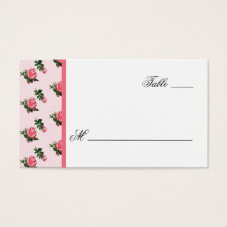 Cottage Chic Pink Roses Wedding Escort Card