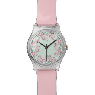 Cottage chic roses floral pink watch