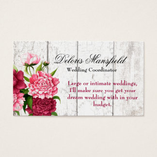 Cottage Chic Rustic Wood and Peonies Business Card