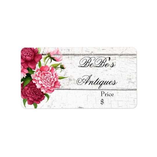 Cottage Chic Rustic Wood and Peonies Business Label