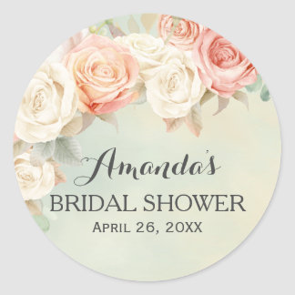 Cottage Chic Vintage Roses Bridal Shower Classic Round Sticker