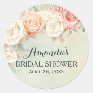 Cottage Chic Vintage Roses Bridal Shower Round Sticker