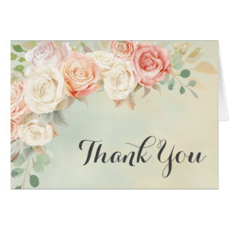 Cottage Chic Vintage Roses Thank You Card