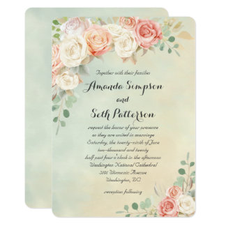 Cottage Chic Vintage Roses Wedding Card