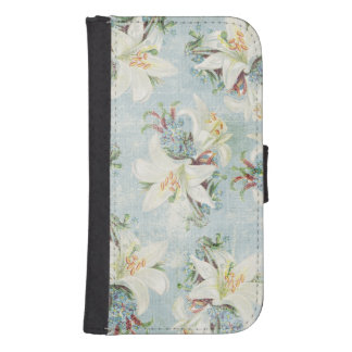 Cottage Chic White Day Lilies Samsung S4 Wallet Case