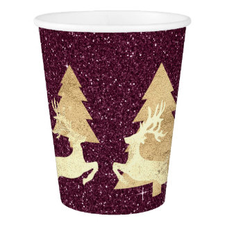 Cottage Christmas Burgundy Glitter Tree Renadeer Paper Cup